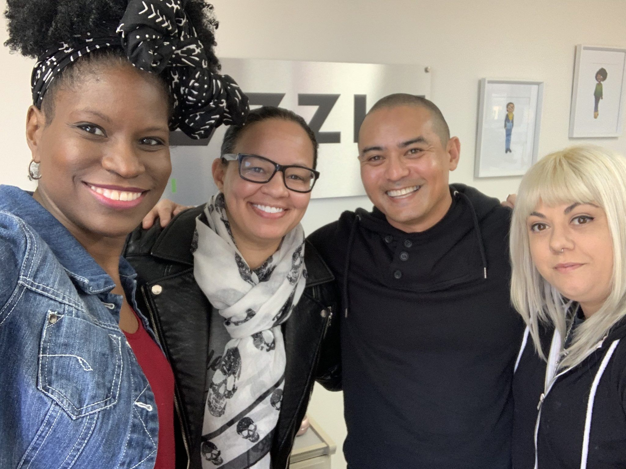From left to right is Angel and Kristine of Puzzle Pieces Marketing nonprofit marketing agency, Patricio of Toothbrushery.com and SEO Specialist Jessica of Puzzle Pieces Marketing.