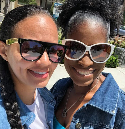 San Diego Black owned business owners, Angel and Kristine. Two smiling, Black women in San Diego.