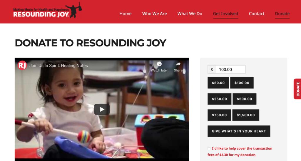 Resounding Joy Donation page